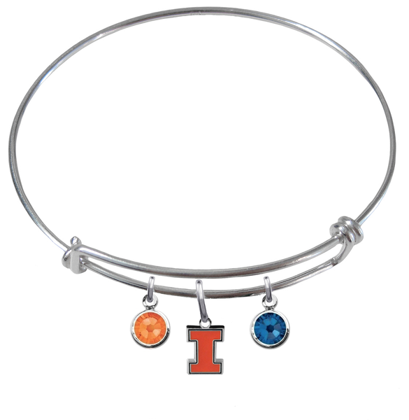 Illinois Fighting Illini NCAA Expandable Wire Bangle Charm Bracelet