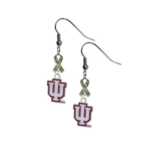 Indiana Hoosiers Salute to Service Camouflage Camo Ribbon Dangle Earrings