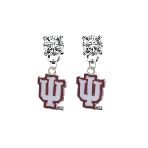 Indiana Hoosiers CLEAR Swarovski Crystal Stud Rhinestone Earrings