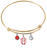 Indiana Hoosiers NCAA Gold Expandable Wire Bangle Charm Bracelet