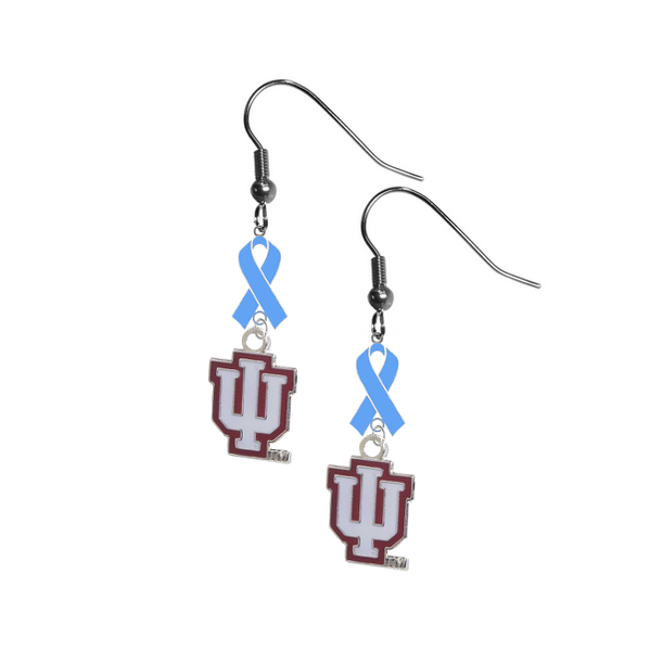 Indiana Hoosiers Prostate Cancer Awareness Light Blue Ribbon Dangle Earrings