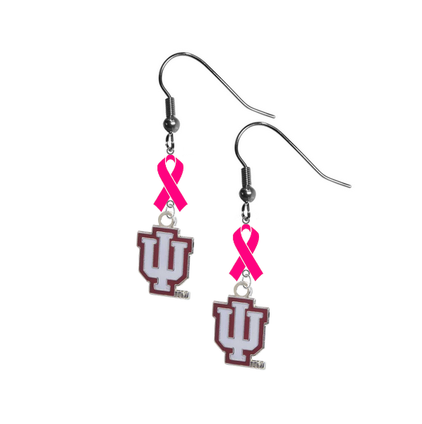 Indiana Hoosiers Breast Cancer Awareness Hot Pink Ribbon Dangle Earrings