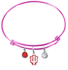 Indiana Hoosiers NCAA Pink Expandable Wire Bangle Charm Bracelet