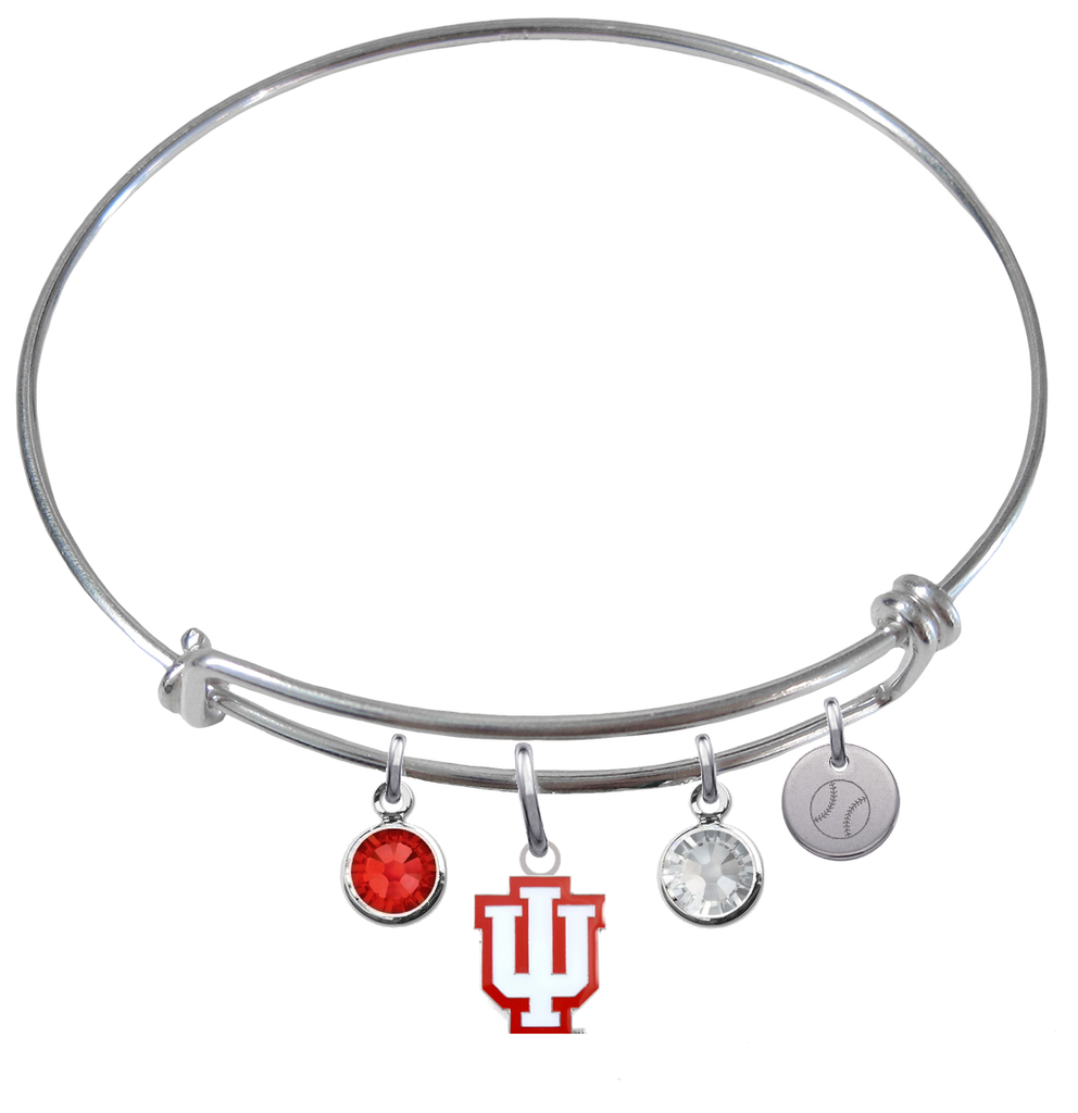 Indiana Hoosiers Softball Expandable Wire Bangle Charm Bracelet