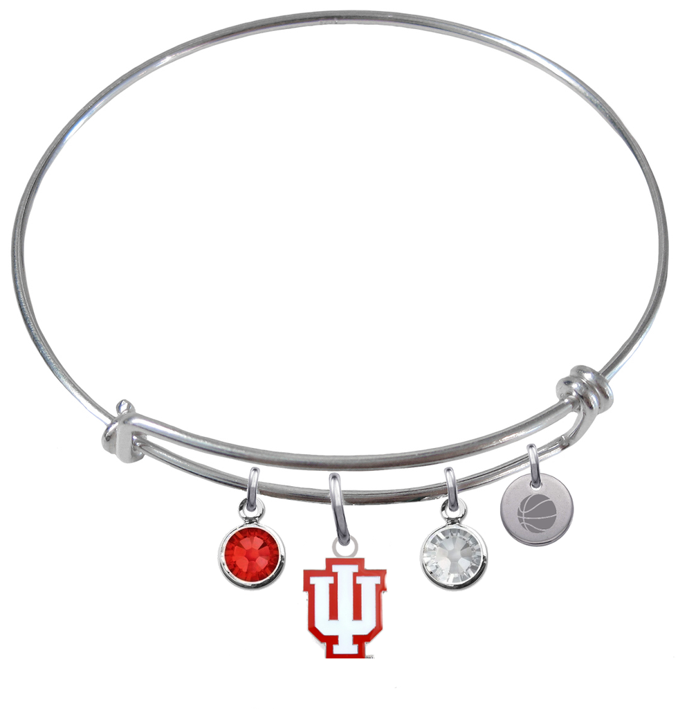 Indiana Hoosiers Basketball Expandable Wire Bangle Charm Bracelet
