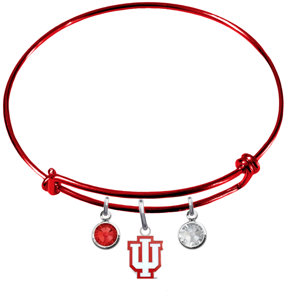 Indiana Hoosiers NCAA Red Expandable Wire Bangle Charm Bracelet