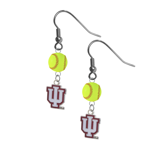 Indiana Hoosiers NCAA Fastpitch Softball Dangle Earrings