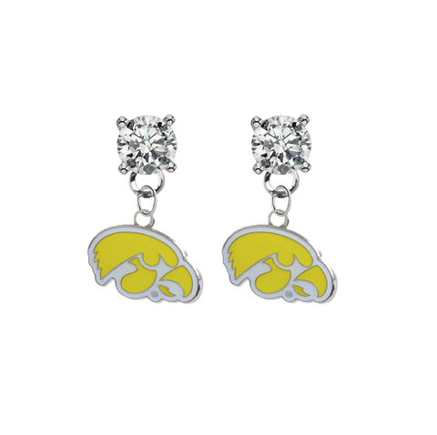 Iowa Hawkeyes 2 CLEAR Swarovski Crystal Stud Rhinestone Earrings