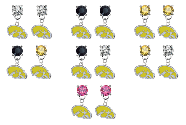 Iowa Hawkeyes 2 NCAA Swarovski Crystal Stud Rhinestone Earrings