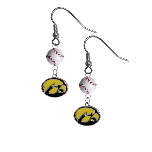 Iowa Hawkeyes NCAA Baseball Dangle Earrings
