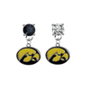 Iowa Hawkeyes BLACK & CLEAR Swarovski Crystal Stud Rhinestone Earrings