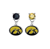 Iowa Hawkeyes BLACK & GOLD Swarovski Crystal Stud Rhinestone Earrings