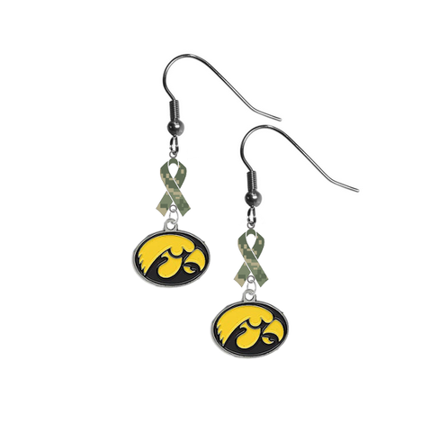 Iowa Hawkeyes Salute to Service Camouflage Camo Ribbon Dangle Earrings