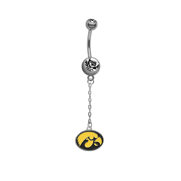 Iowa Hawkeyes Dangle Chain Belly Button Navel Ring