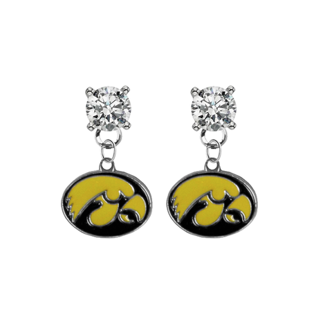 Iowa Hawkeyes CLEAR Swarovski Crystal Stud Rhinestone Earrings