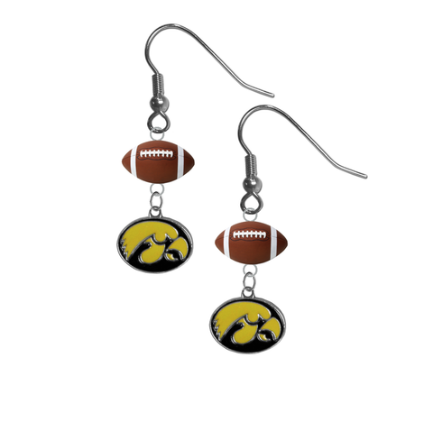Iowa Hawkeyes NCAA Football Dangle Earrings