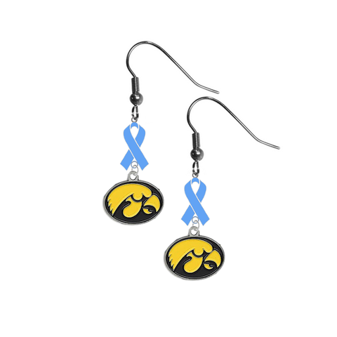 Iowa Hawkeyes Prostate Cancer Awareness Light Blue Ribbon Dangle Earrings