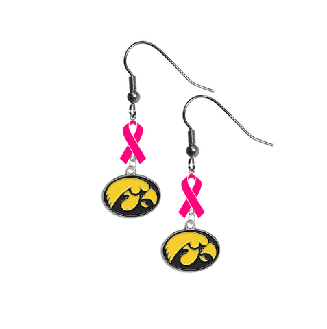 Iowa Hawkeyes Breast Cancer Awareness Hot Pink Ribbon Dangle Earrings