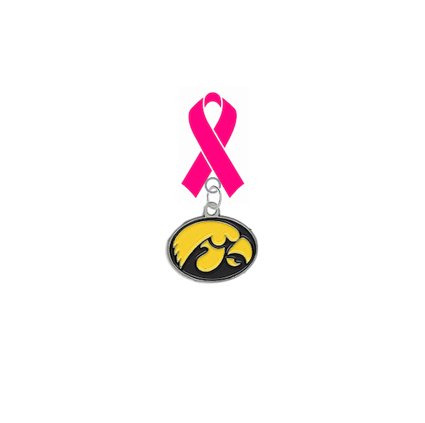 Iowa Hawkeyes Breast Cancer Awareness / Mothers Day Pink Ribbon Lapel Pin