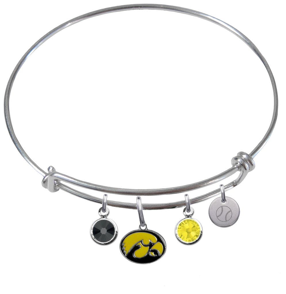Iowa Hawkeyes Softball Expandable Wire Bangle Charm Bracelet