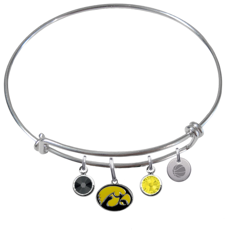 Iowa Hawkeyes Basketball Expandable Wire Bangle Charm Bracelet
