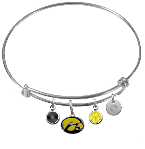 Iowa Hawkeyes Football Expandable Wire Bangle Charm Bracelet
