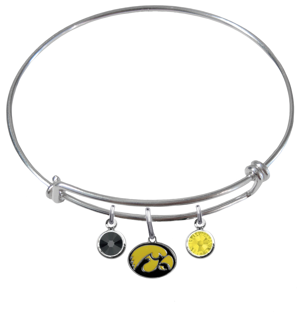 Iowa Hawkeyes NCAA Expandable Wire Bangle Charm Bracelet