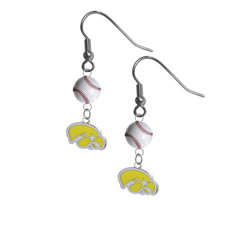Iowa Hawkeyes Style 2 NCAA Baseball Dangle Earrings