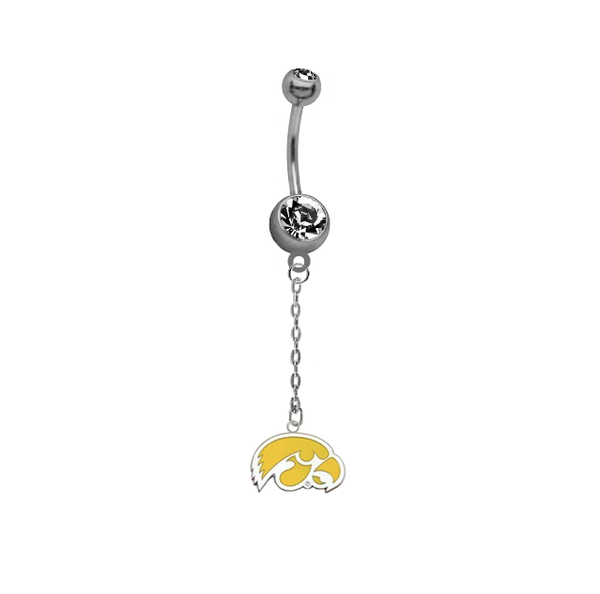 Iowa Hawkeyes Style 2 Dangle Chain Belly Button Navel Ring