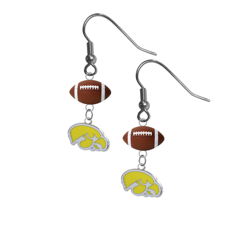 Iowa Hawkeyes Style 2 NCAA Football Dangle Earrings