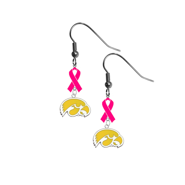 Iowa Hawkeyes Style 2 Breast Cancer Awareness Hot Pink Ribbon Dangle Earrings
