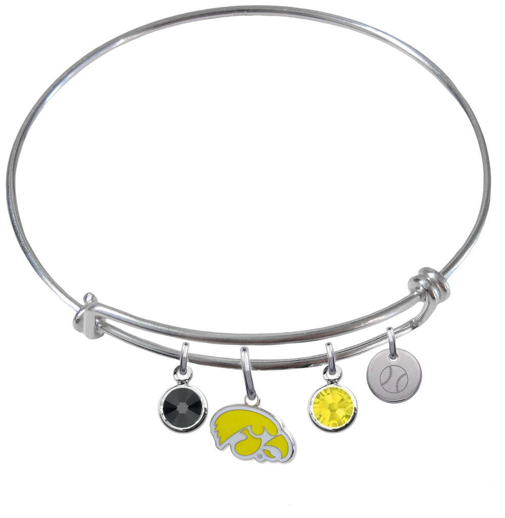 Iowa Hawkeyes Style 2 Baseball Expandable Wire Bangle Charm Bracelet