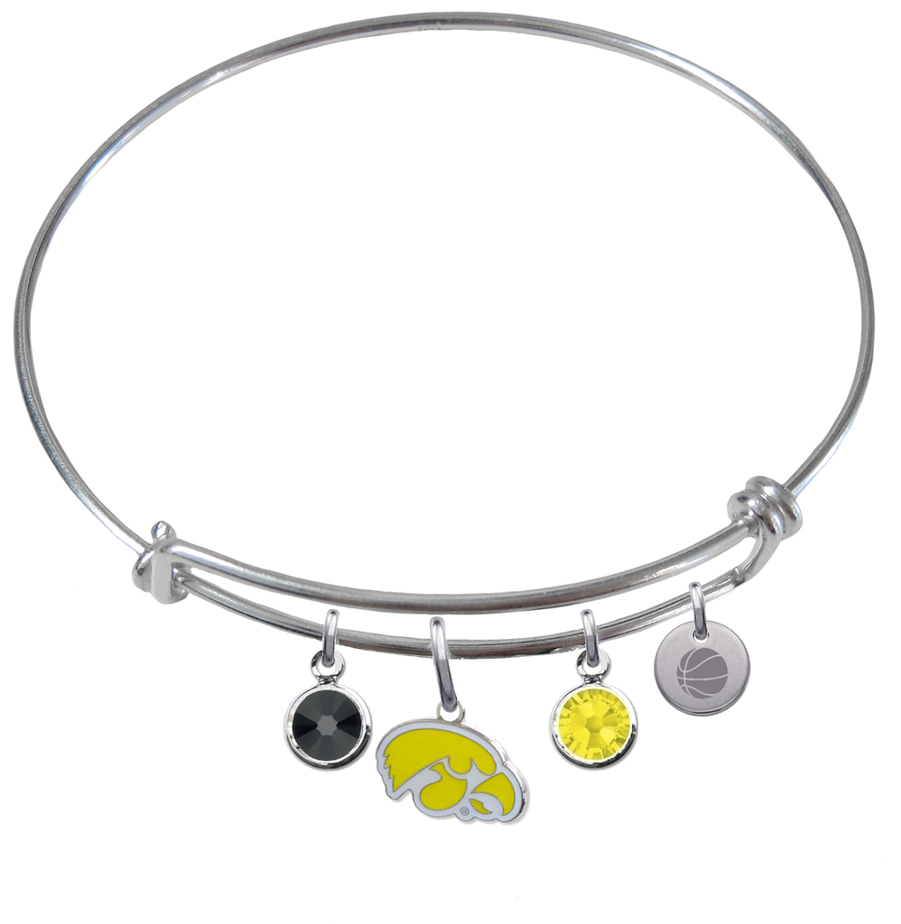 Iowa Hawkeyes Style 2 Basketball Expandable Wire Bangle Charm Bracelet