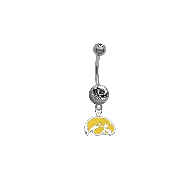 Iowa Hawkeyes Style 2 NCAA College Belly Button Navel Ring