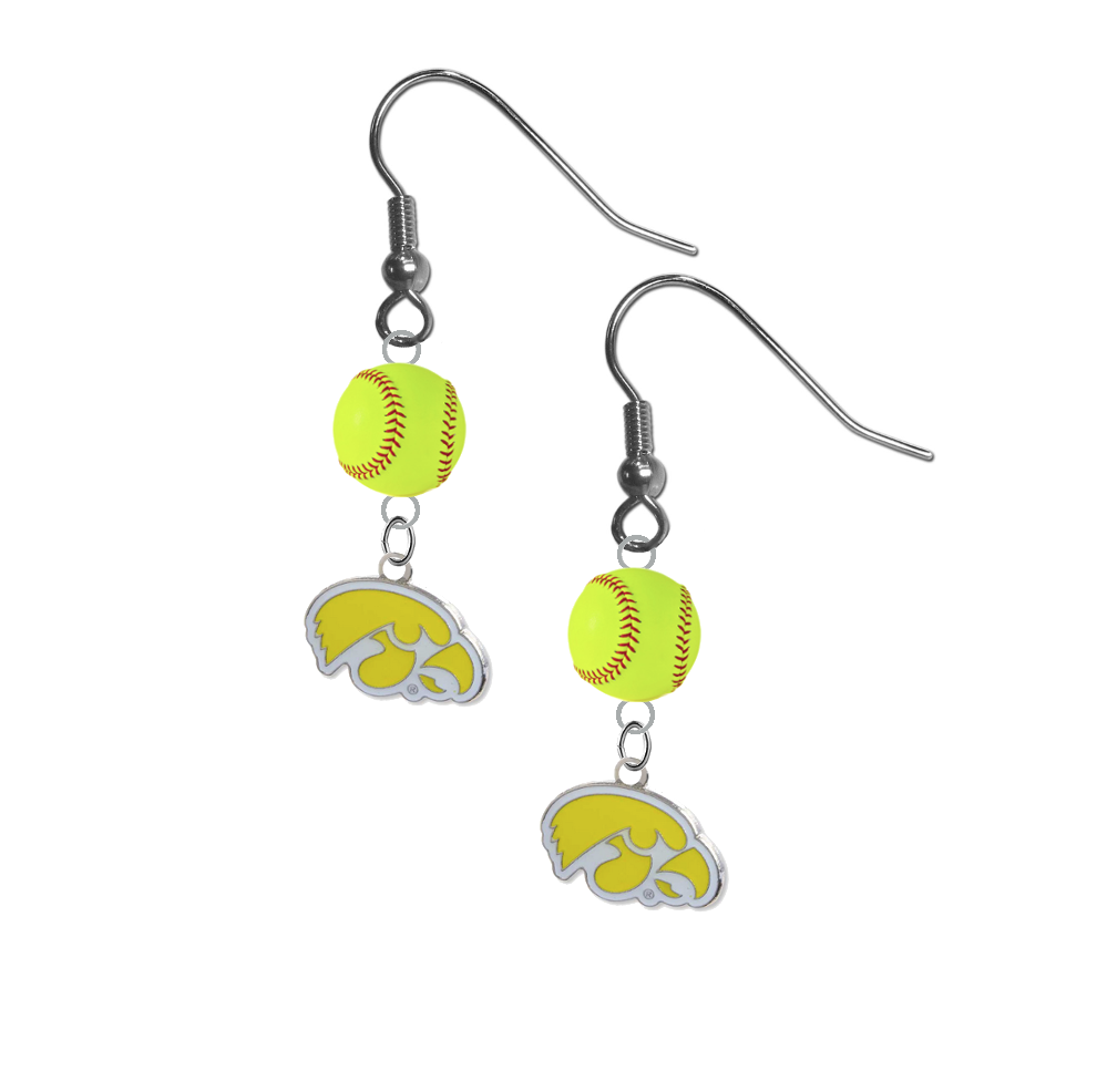 Iowa Hawkeyes Style 2 NCAA Fastpitch Softball Dangle Earrings