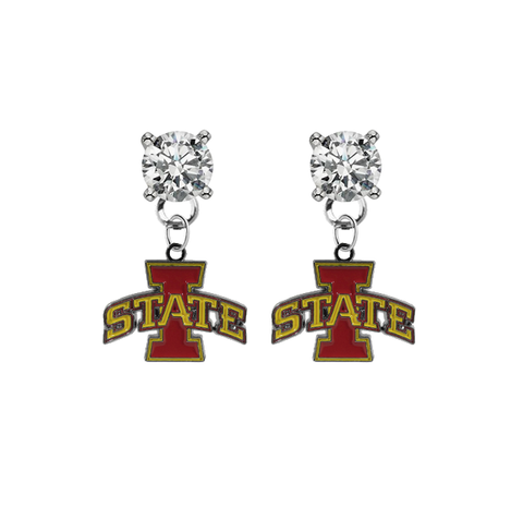 Iowa State Cyclones CLEAR Swarovski Crystal Stud Rhinestone Earrings