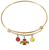 Iowa State Cyclones NCAA Gold Expandable Wire Bangle Charm Bracelet