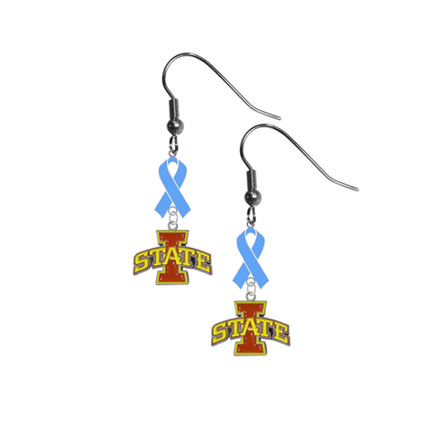 Iowa State Cyclones Prostate Cancer Awareness Light Blue Ribbon Dangle Earrings