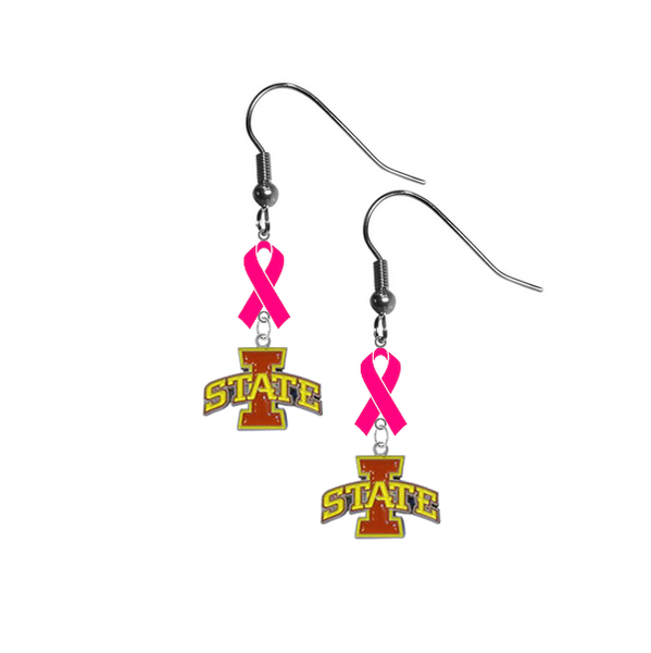 Iowa State Cyclones Breast Cancer Awareness Hot Pink Ribbon Dangle Earrings