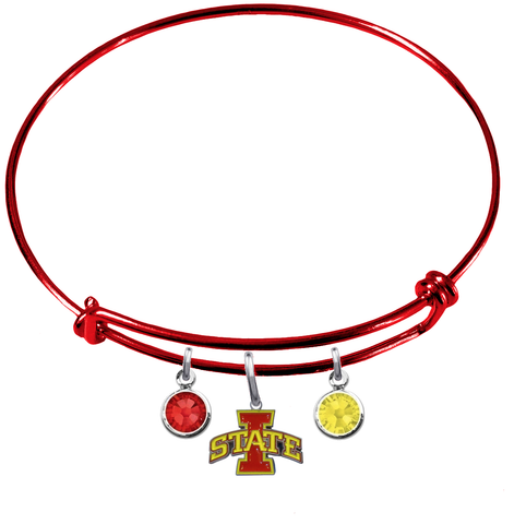 Iowa State Cyclones NCAA Red Expandable Wire Bangle Charm Bracelet