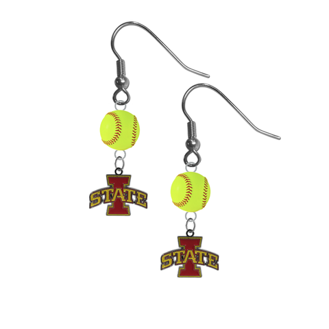 Iowa State Cyclones NCAA Fastpitch Softball Dangle Earrings