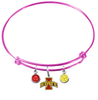 Iowa State Cyclones NCAA Pink Expandable Wire Bangle Charm Bracelet
