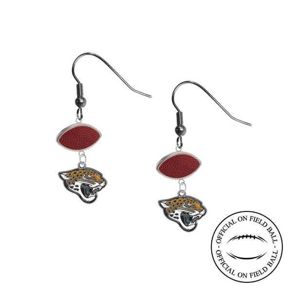 Jacksonville Jaguars NFL Authentic Official On Field Leather Football Dangle Earrings