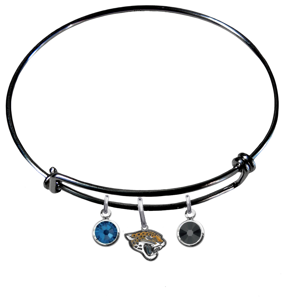 Jacksonville Jaguars Black NFL Expandable Wire Bangle Charm Bracelet