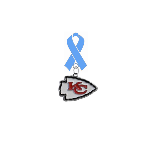 Kansas City Chiefs NFL Prostate Cancer Awareness / Fathers Day Light Blue Ribbon Lapel Pin