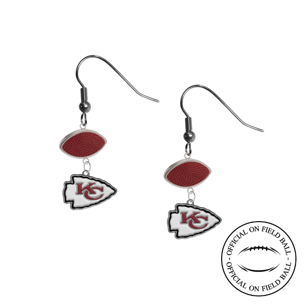 Kansas City Chiefs NFL Authentic Official On Field Leather Football Dangle Earrings