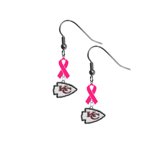 Kansas City Chiefs NFL Breast Cancer Awareness Pink Ribbon Dangle Earrings