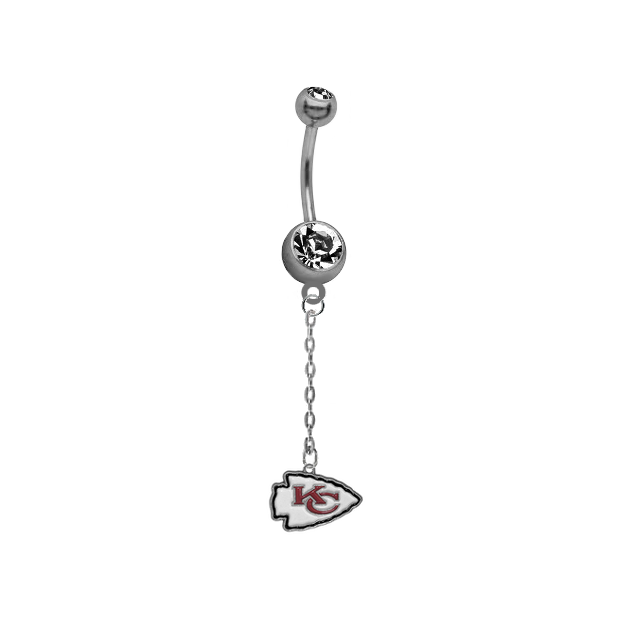 Kansas City Chiefs Chain NFL Football Belly Button Navel Ring
