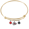 Kansas City Chiefs Gold NFL Expandable Wire Bangle Charm Bracelet