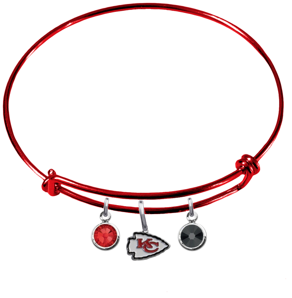 Kansas City Chiefs Red NFL Expandable Wire Bangle Charm Bracelet
